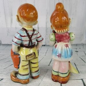 Handmade Accents - 2 Peasant Oriental Chinese Children Figurines